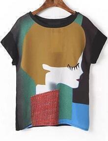 Black Short Sleeve Girl Print T-Shirt