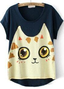 Navy Short Sleeve Cat Print T-Shirt