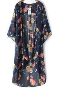 Blue Floral Crane Print Chiffon Kimono