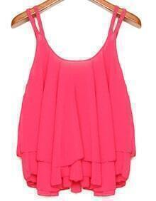 Strap Double Layers Pleated Chiffon Cami Top