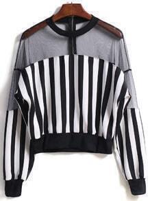 Vertical Stripe Sheer Mesh Jacket