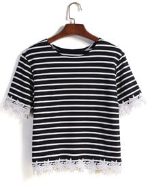Striped Lace Embellished T-Shirt