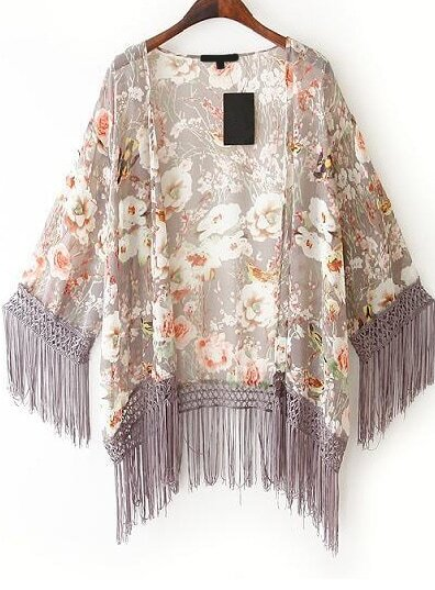 Floral Tassel Chiffon Kimono