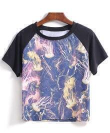 Round Neck Jellyfish Print Loose T-shirt