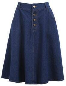 With Buttons Denim Pleated Skirt