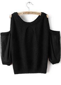 Off-shoulder Knit Black Sweater