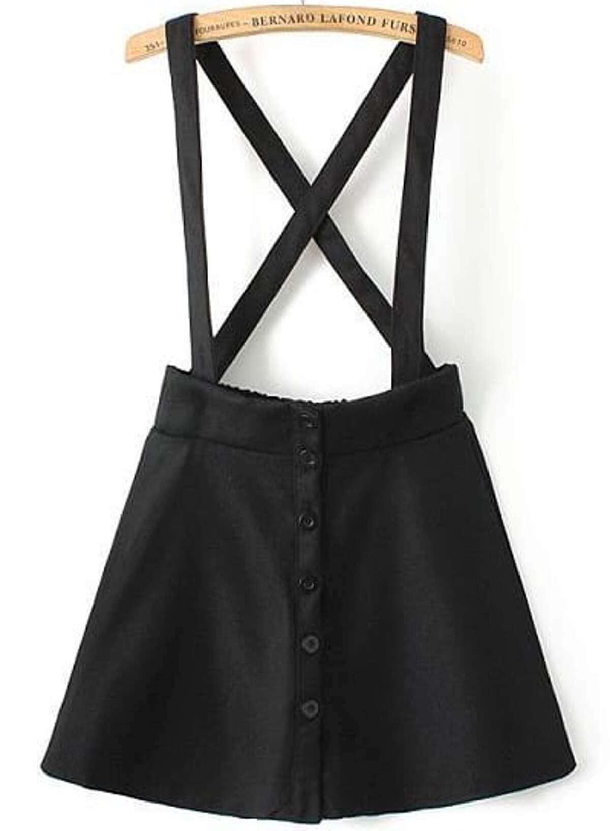 黑色 肩帶式 鈕扣 裙子