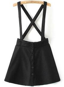 Black Strap Buttons Skirt