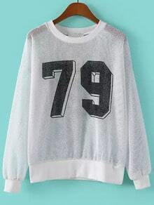 White Long Sleeve 79 Print Hollow Sweatshirt