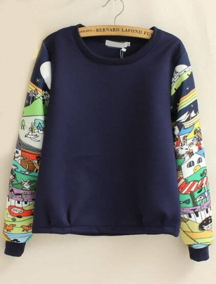Navy Round Neck Cartoon Print Sweatshirt