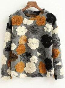 Grey Round Neck Flower Pattern Sweatshirt