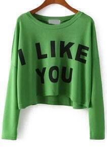 Green Long Sleeve I LIKE YOU Print Crop T-Shirt