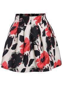 Camouflage Print Flare Skirt