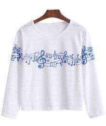 Long Sleeve Note Print Hollow T-shirt