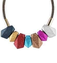 Multicolor Gemstone Tasse Necklace
