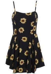 Spaghetti Strap Flower Print Chiffon Dress