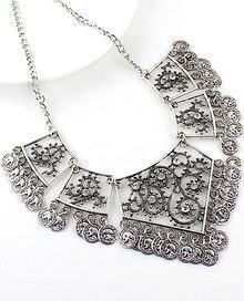 Silver Square Diamond Necklace