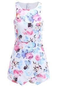 Sleeveless Floral Bodycon White Dress