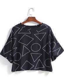 Geometric Print Crop Loose T-Shirt
