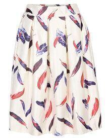 Leaves Print Pleated Midi Beige Skirt