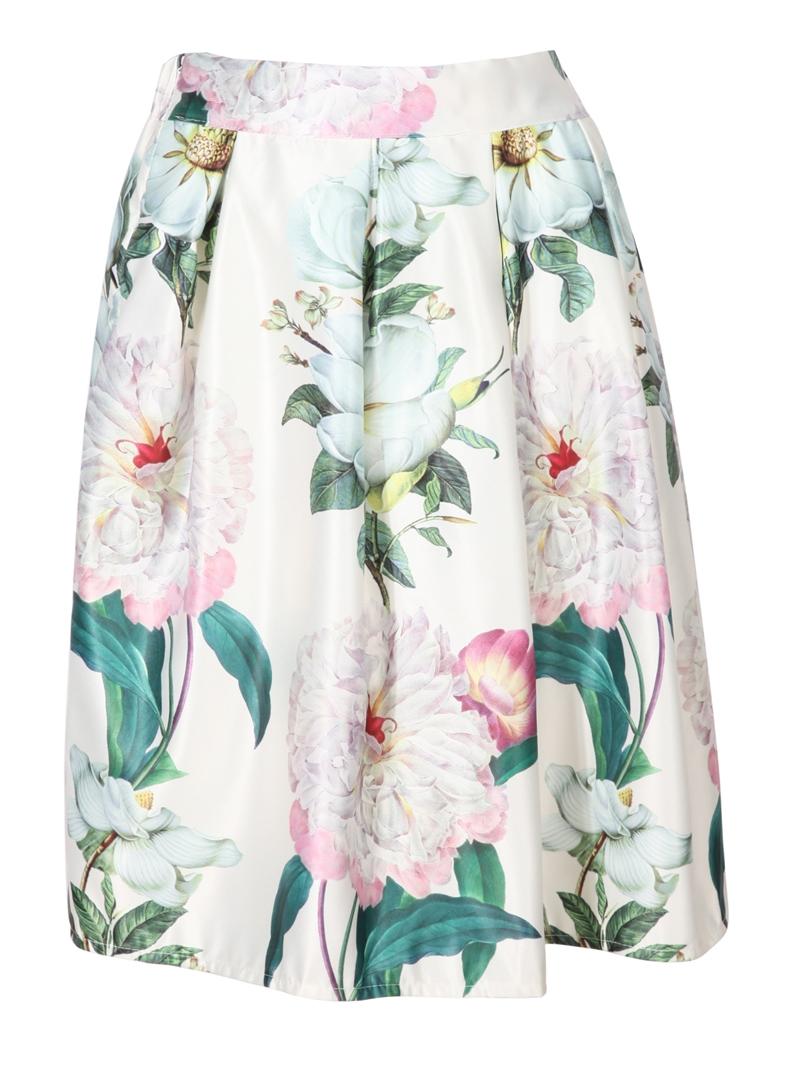 floral pleated midi beige skirt
