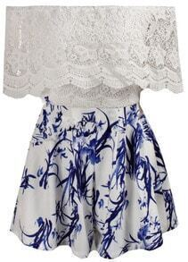 Boat Neck Lace Floral Dress