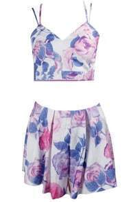 Spaghetti Strap Floral Top With Skirt