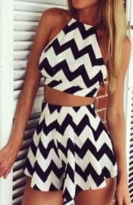Criss Cross Back Top With Zigzag Shorts