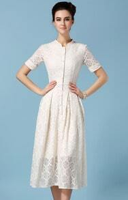 Stand Collar Hollow Lace Dress