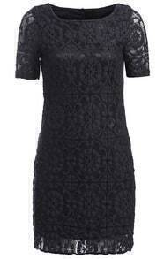 Short Sleeve Lace Crochet Shift Dress