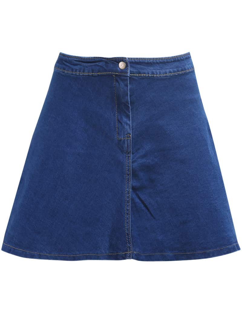 with button flare denim skirt