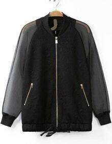 Black Contrast Sheer Organza Jacquard Jacket