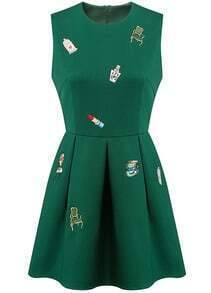 Green Sleeveless Embroidered Flare Dress