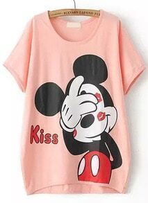 Dip Hem Lips Mickey Print Pink T-shirt