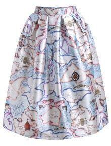 Balloon Print Flare Skirt