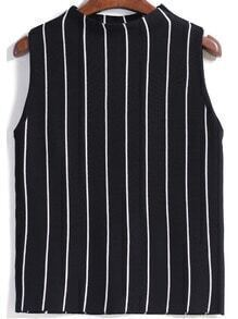 Vertical Striped Slim Black Tank Top