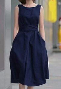 Sleeveless With Belt Navy Dress
