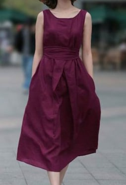 Sleeveless With Belt Purple Dress - $19.44