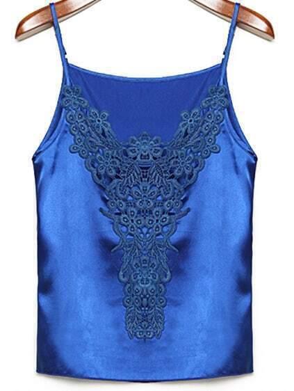 Spaghetti Strap Lace Crochet Blue Vest pictures