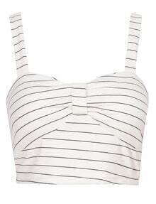 Spaghetti Strap Striped Crop White Cami Top