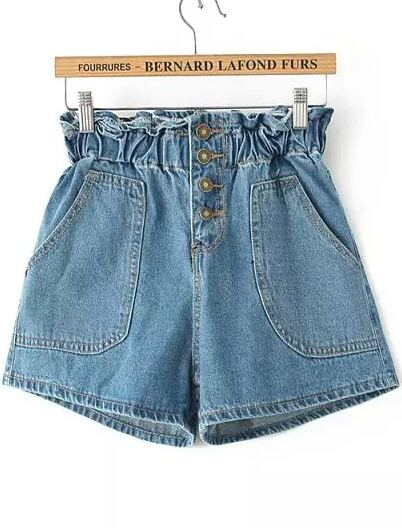 High Waist With Pockets Denim Shorts