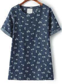 Navy Short Sleeve Floral Slim Dress