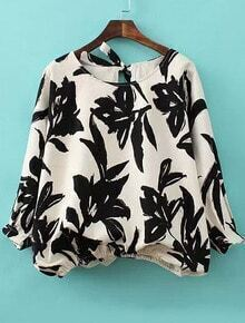 Round Neck Ink Print Lace Up Back Blouse