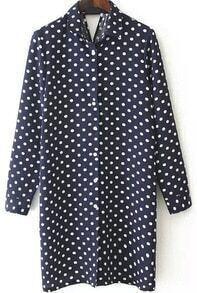 Lapel Polka Dot Cut Out Navy Dress