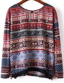 Round Neck Vintage Print Split Side Sweater