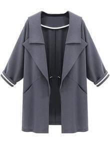 Lapel With Pockets Drawstring Loose Grey Coat
