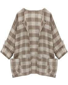 With Pockets Plaid Apricot Coat