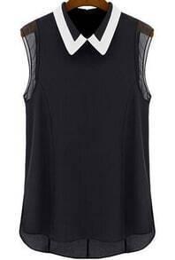 Contrast Collar Dip Hem Chiffon Black Blouse