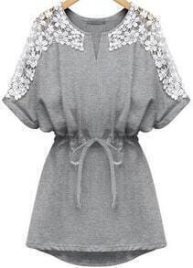 V Neck Lace Insert With Belt Grey Dress