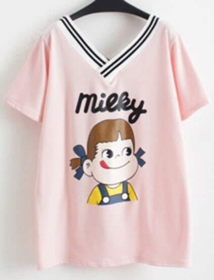 Contrast V Neck Girl Print Pink T-shirt